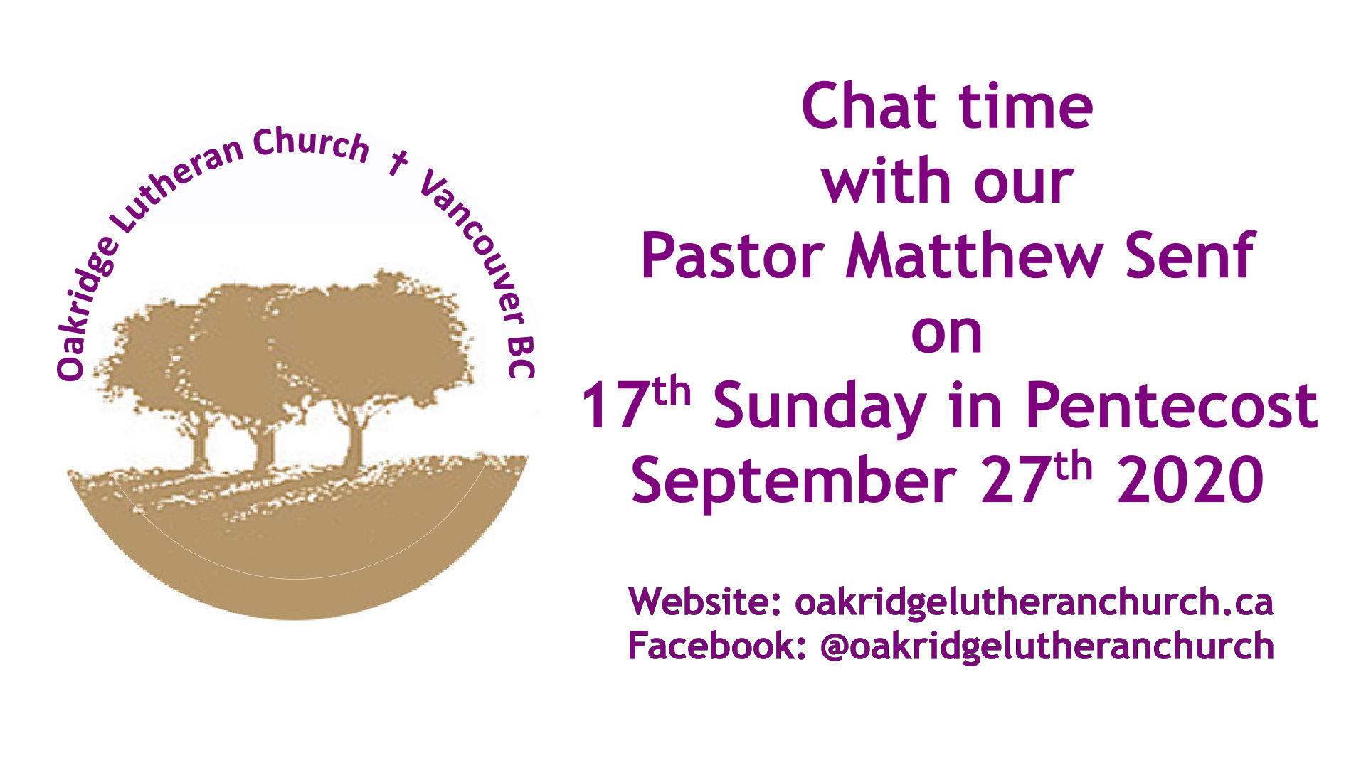 Chat Pastor Matthew 14th Sunday in Pentacost 06 Sep 2020