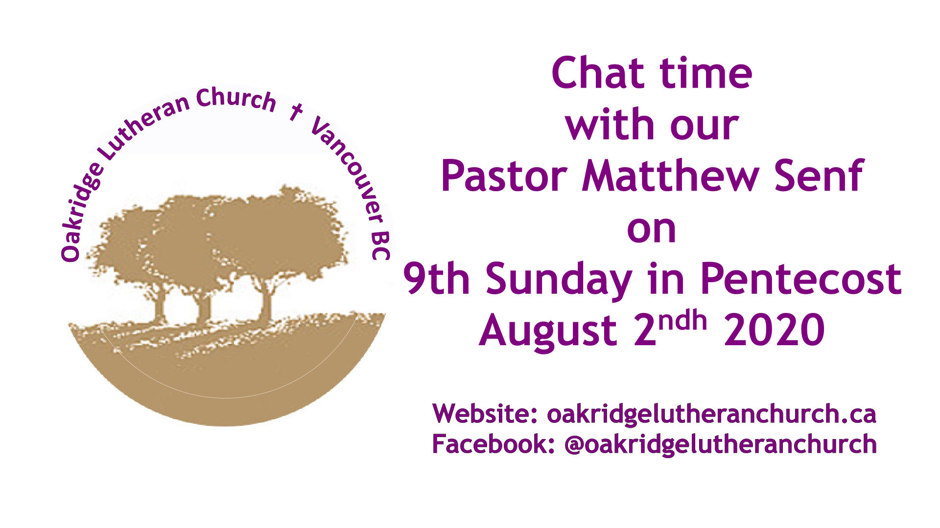 Chat Pastor Matthew 7th Sunday in Pentecost 19 Jul 2020
